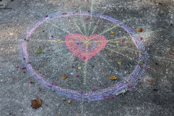 heart in chalk w leaves
